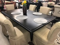 7 PC Clybourn Expresso Dining Table & Light Brown Slipcover Chairs Set  Fountain Valley, 92708