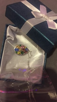 Silver pink red yellow and blue studded pendant necklace Abilene, 79605