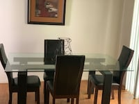 rectangular brown wooden table with six chairs dining set 43 km