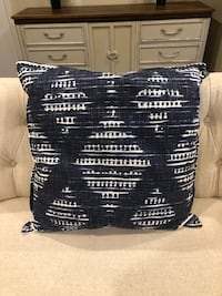 """Large navy and white throw pillow (24"""" x 24"""") in fun pattern. $14 Bourbonnais, 60914"""