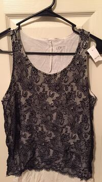 black and gray Loft floral tank top