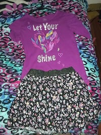 purple and white let your shine sequin t-shirt with black-white floral mini skirt