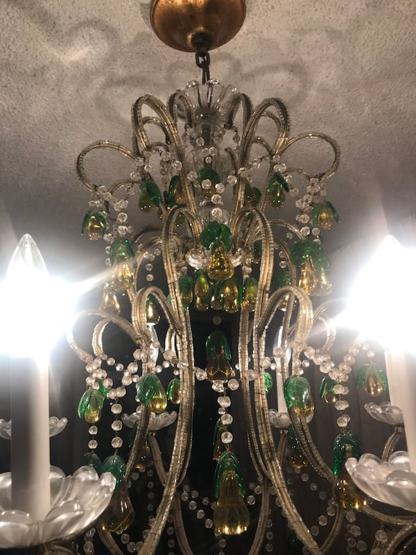 Large antique Italian beaded chandelier with glass pears 655bab85-7d12-4103-9ffc-4e6fe3183c10