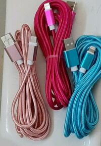 3 new iPhone HEAVY DUTY 10 foot FAST CHARGING cell phone cords