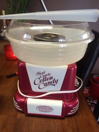 red and white Nostalgia Hard Candy Cotton Candy maker
