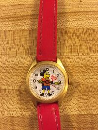 round silver analog watch with red leather strap Frederica, 19946
