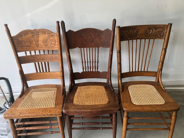 3 Vintage Kitchen Wood Dining Chairs Wicker Seat