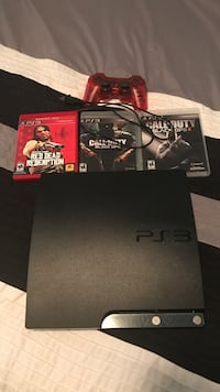 Black sony ps3 slim console with controller and game cases Cypress, 77429