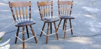 Wood Bar chairs with leather seats Murray, 84107