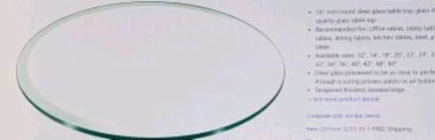 56 Round Tempered Glass Tabletop
