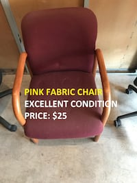 Pink Fabric Chair, Excellent Condition Toronto