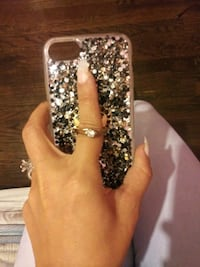 iPhone case with silver and black& gold rhinestones with a ring on Hazel Park, 48030