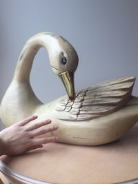 Table top Hand carved imported wooden duck with brass beak Toronto, M3B 1P1