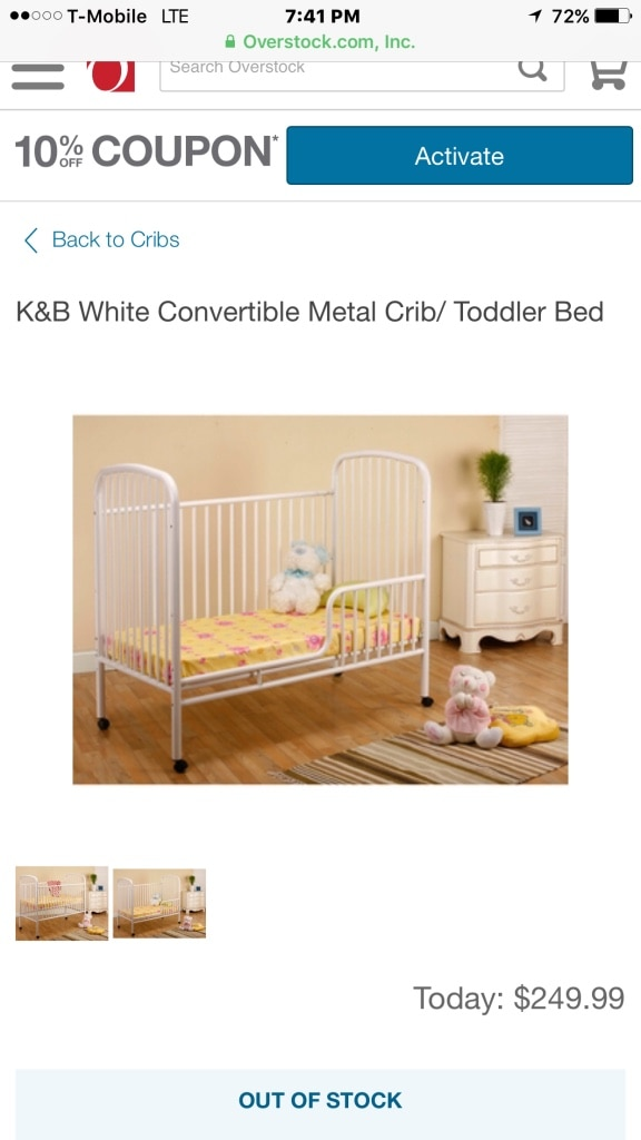 Used k&b white convertible metal crib/ toddler ed in New York