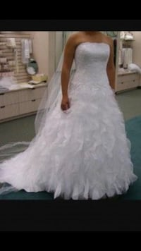Women's white floral strapless wedding gown Romulus, 48174