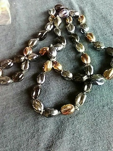 brown, gold, and silver beaded necklace