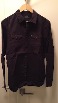 Mens new allsaints spitalfields dress shirt western shirt new dark purple brown shirt medium