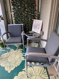 Metal with Teak Outdoor Furniture. Loveseat and 3 arm chairs.