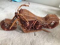 """Hand made metal motorcycle 19"""" W x 9"""" H."""