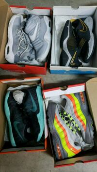 pair of gray-and-green Nike basketball shoes Richmond, 94803