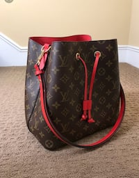 black and red Louis Vuitton leather tote bag