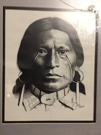 """Signed and numbered Litho (artist: MORA) framed (w/ frame, approx 16 x 18"""") American Indian , tribal art Glendale, 91203"""