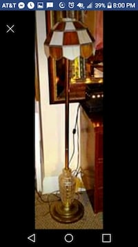Vintage Hollywood glam brass and glass floor lamp