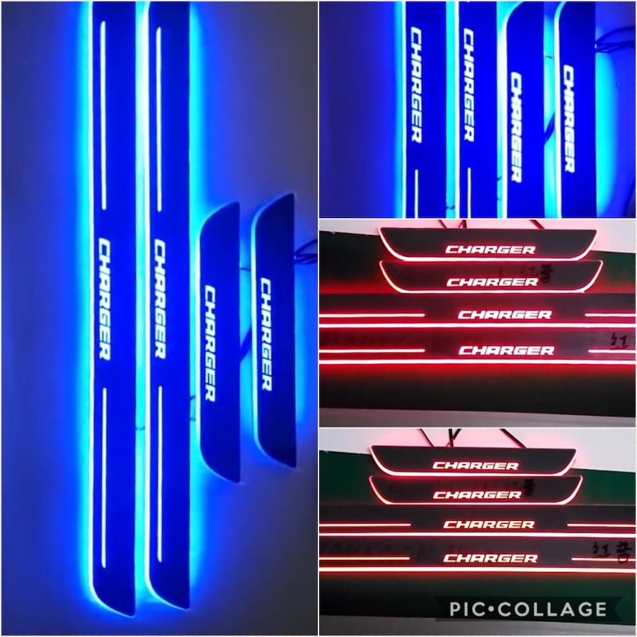 Dodge Charger led door sill scuff plates