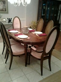 oval brown wooden table with six chairs dining set Gaithersburg, 20879