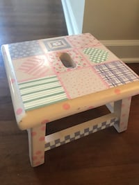 Hand painted step stool.  12x12x8H.  Light pink with lilac and green designs  Glenview, 60025
