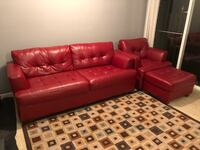 Red Leather Couch w Chair and Ottoman Upper Marlboro, 20772