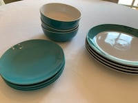 RE plate and bowl set for 4 missing one bowl