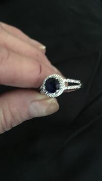Women's silver or white gold sapphire with diamond chips