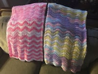 two pink and multicolored crochet blankets Anaheim, 92808