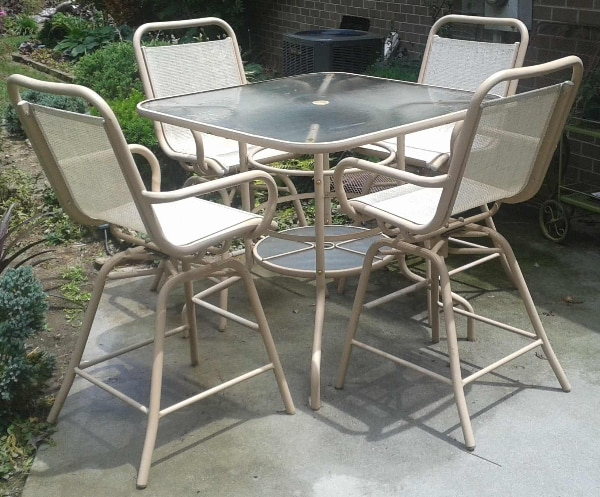 Balcony Height Swivel Patio Set: Used Patio Table Set, 4 Bar Height Swivel Chairs, And Over