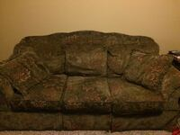 Green floral 3-seat sofa plus matching love seat and chair