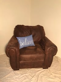 brown leather sofa chair with throw pillow The Colony, 75056