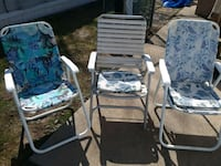 three white-and-blue floral folding armchairs Camp Hill, 17011