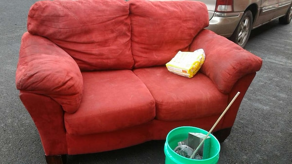 Used Ashley Furniture Red Soft Leather Couch For In Columbus
