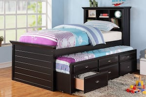Black Twin Bed with Trundle and 3 Drawers **FINANCING AND FREE DELIVERY**