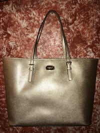 1395cbc2266e3c Michael Kors Jet Set Pale Gold Leather Large Carryall Tote Purse ...