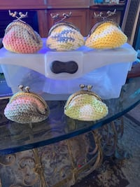 Crocheted coin purses.  Perfect gift for Mothers Day, teachers, hostess gifts etc. only $10.00 plus shipping Cathedral City, 92234