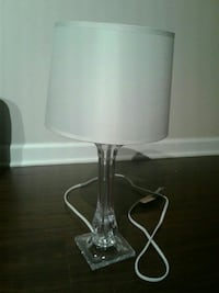 clear base with white lampshade table lamp