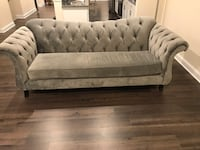 tufted gray fabric sofa with throw pillows Upper Marlboro, 20772