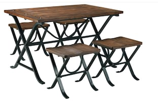 Industrial Style Dining Set w/ 4 stools