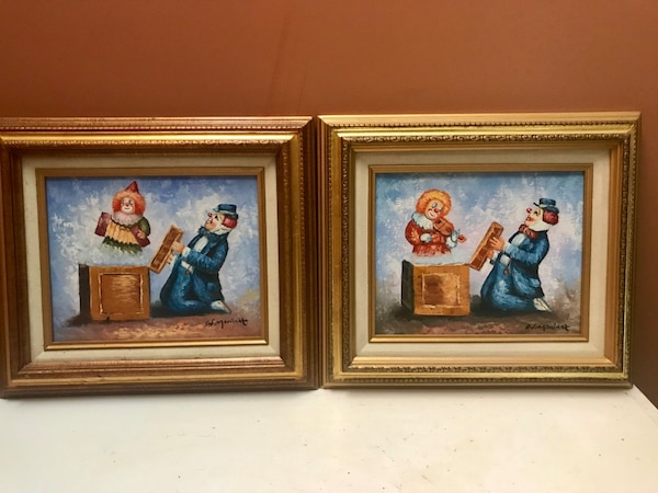 Set of 2 Framed Oil Paintings Signed - Clowns
