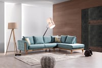 White and turquoise fabric sectional sofa