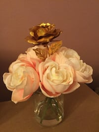 Artificial roses with 24k gold rose in the middle in glass vase  Vancouver, V6G 1H2