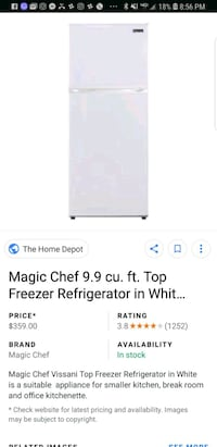 9.9 cu  magic chef refrigerate white Temple Hills, 20748
