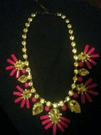 Pink flower and diamond necklace